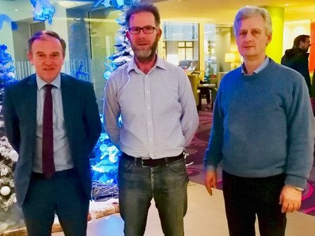 UK Fisheries Minister George Eustice with David Curtis (Save Our Sea Bass) and Jan Kappel (European Anglers Alliance) at the EU Fisheries Council Meeting